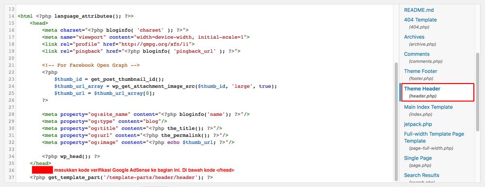 header.php-kode-verifikasi-Google-AdSense-Dewaweb
